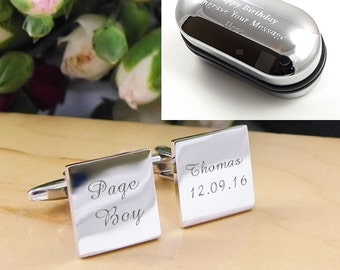 Mens Personalised Page Boy Wedding Day Custom Engraved Square Cufflinks - Personalised Engraved Gift Box Available