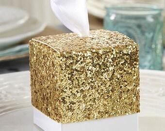 24 pcs Glitter Gold Favor Box - Wedding Favor Boxes - Weding Favors(KA28201)