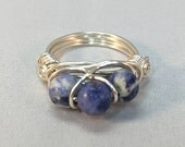 Sodalite Wire Wrapped Ring| Blue and White Wire Wrapped Ring| Blue Semi-Precious Stone Ring| Three Bead Sodalite Ring|