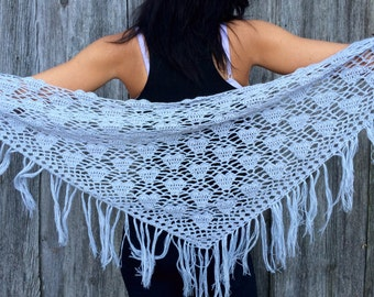 bridal light gray shawl  women shawl Crocheted gray Ornamented Triangle Shawl with Lace women shawl  white crochet shawl