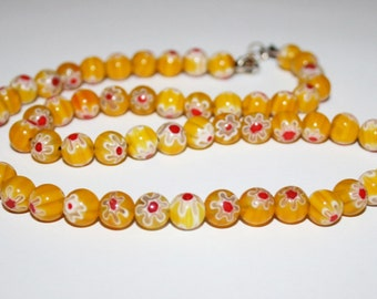 Beads millefiori glass 8 mm yellow.