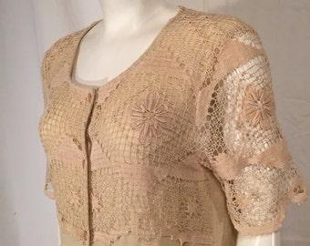 Vintage Carole Little Dress Large L Short Sleeve Empire Waist Linen Natural Color Lace Macrame Overlay 90s Nineties Artwear Hippie