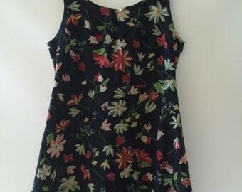 Esprit 90s summer mini dress semi sheer floral S