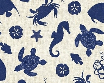 "35"" REMNANT Hidden Cove - Sea Creatures in Navy Blue - Sea Animals Cotton Quilt Fabric - Sue Schlabach for Windham Fabrics - 40431-2 (W3027)"