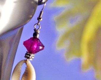 Cowrie Shell Earrings Afrocentric Earrings Ethnic EarringsBeach Earring African Earrings,Purple Earrings, Island Girl, Sea Shell Earrings