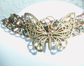 Vintage-Look Butterfly Chainmail Necklace