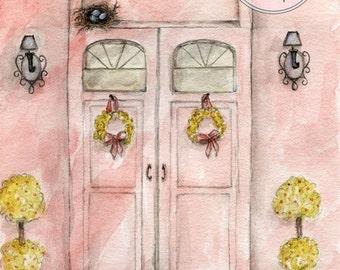 Paris Doors - Watercolor - Artist Print - Digital