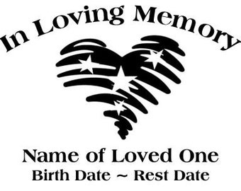 In Loving Memory Americana Heart Stars Decal Sticker
