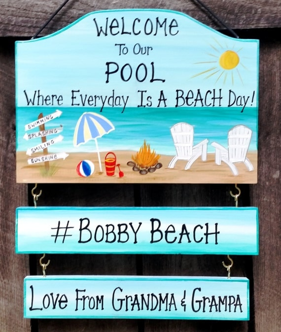 Welcome To Our Beach House Sign: Items Similar To Custom Welcome To Our Pool Swimming Or
