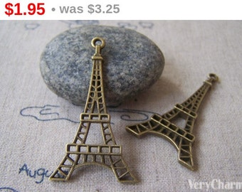 SALE 10 pcs of Antique Bronze Filigree Eiffel Tower Pendants 25x45mm A4242
