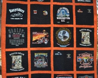 T-Shirt Quilt - Made to Order - Custom - **DEPOSIT** Traditional T-Shirt Quilt ** T-Shirt Memory Quilt