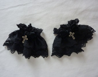 Star Cross Black Wrist Cuffs (2 set)