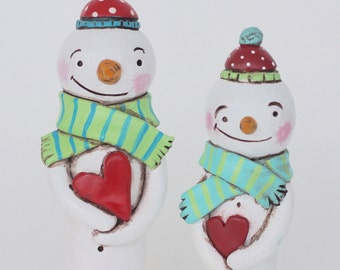 Winter Snowman DUO with Hearts Christmas Decoration Polymer Clay Folk Art