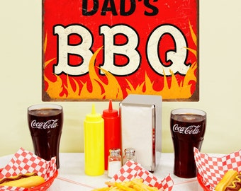 Dads BBQ Barbecue Flames Wall Decal - #57920