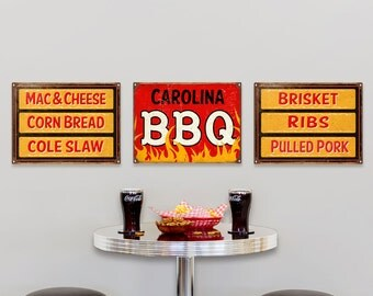 Carolina Style BBQ Barbecue Meats Sides Sign Set - #56438