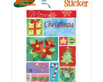 Merry Christmas Art Panels Vinyl Sticker - #65689