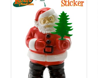 Santa Claus with Christmas Tree Vinyl Sticker - #71110