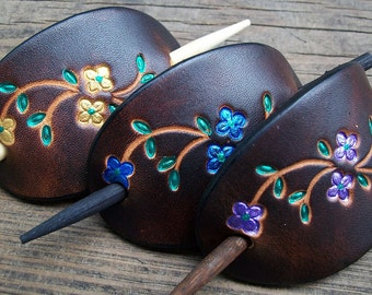 Bright Flowers Small Leather Stick Barrette | Retro Leather Barrettes | Leather Hair Slides with Wood Pin