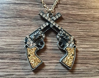 Rhinestone Crossed Guns Necklace Pistol Necklace Rhinestone Revolver Crossed Pistols Double Gun Western Country Necklace Guns Shotgun Pistol