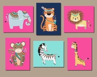 JUNGLE Nursery Wall Art, Tribal Jungle Animals, Jungle Nursery Decor, Jungle Nursery Art, Girl Nursery Decor, Set of 6 Prints Or Canvas
