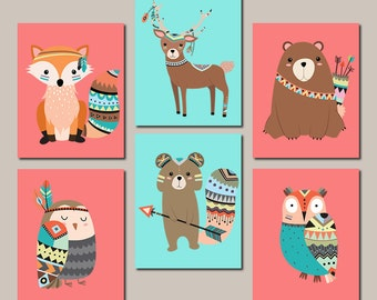 WOODLAND Nursery WALL ART, Tribal Nursery Decor, Tribal Woodland Animals Tribal Baby Shower Girl Nursery Decor Set Of 6 Prints Or Canvas