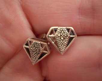 Marcasite (Natural) 925 Antique Sterling Silver Post Stud Earrings