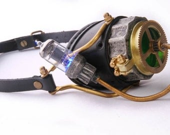 Steampunk Mono-Goggle, Functioning Hatch and LED Tube Light
