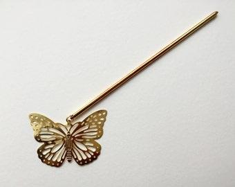 Gold butterfly kanzashi hair stick binyeo geisha