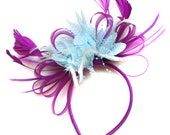 Plum Magenta and Light Blue Fascinator on Headband Alice Band UK Wedding Ascot Races Loop