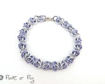 Barrel Weave Chain Maille Bracelet - Lilac & Frost