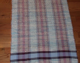 Handwoven Rag Rug Runner in Colonial Design 72 inches long 33 inches wide in Blue