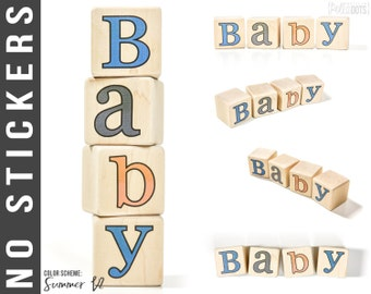 Personalized Wooden Name Baby Blocks - Baby Shower Gift