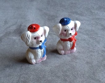 Vintage Pair Of White Shaggy Dog Salt And Pepper Shakers Made In Japan