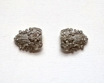 Dress Clips Pair Of Art Deco Diamante Clips Vintage
