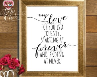 Instant download Printable Love Quote, Wedding gift, My love for you is a journey (c0218)