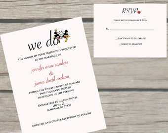 Getting Married at the Happiest Place on Earth??? Invite and inform your guest with this adorable invitation.  I could customize the wording to fit your needs.