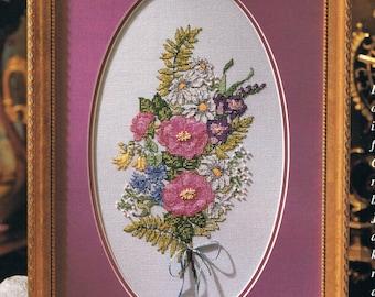 CROSS STITCH PATTERN - Wild Rose Bouquet Cross Stitch Pattern - Flower Cross Stitch - Botanical Cross Stitch