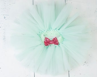 MINT TUTU, Mint and Fuschia Tutu, Girls Tutu, Baby Tutu, Infant Tutu, Newborn Tutu, Toddler Tutu, Mint and Hot Pink Tutu, Birthday Tutu