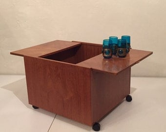 Modern Danish Teak Coffee Table/ Rolling Bar