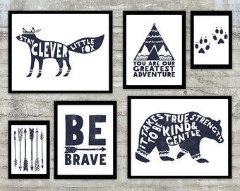"Dark Navy Blue Prints Monochrome ""Stay Clever Little Fox"" Wall Art Inspirational Quote Typographic Print Nursery Art Poster Print"