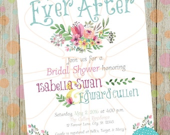 Happily Ever After Floral Watercolor Bridal Shower (Digital/Printable) Invite
