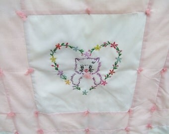 Vintage Embroidered Kittens Tied Baby Quilt in Sweet Pink and White with Beautiful Blue and Pink Flowers and Ribbons Backing