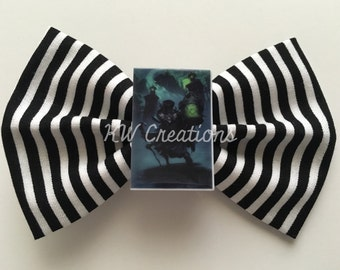 Disneyland-Inspired Hat Box Ghost Haunted Mansion Black and White Striped Fabric Hair Bow