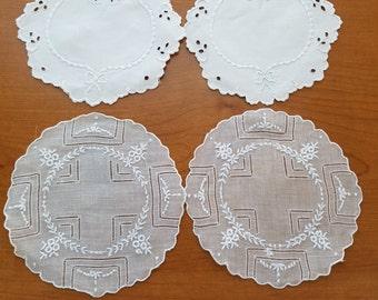 4 Vintage Linen Coasters