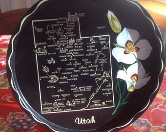Vintage Utah metal souvenir tray