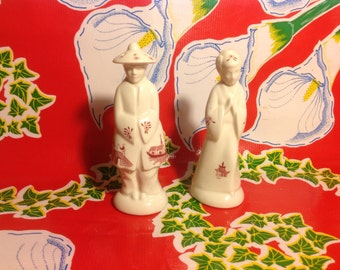 Vintage ceramic Japanese couple salt and pepper shakers in traditional garments