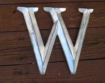 Large Distressed Silver Initial Capital W Letter Wall Decor