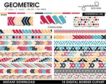 Clip Art Borders || Board Patterns || Page Border || Geometric Borders Clipart || Navy, Red, Yellow, Blue, Beige || Commercial Use | BR16002