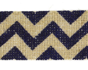 "1.5"" Navy Chevron Burlap Ribbon - 10 Yards"