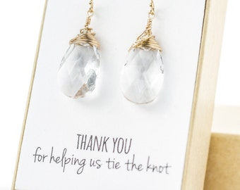 Clear Gold Swarovski Crystal Earrings - Large Crystal Earrings - Clear Swarovski Crystal Earrings - Wire-Wrapped - Bridesmaid Earrings Gift